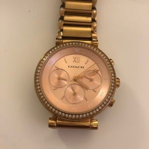 Coach Accessories - Coach Rose Gold 36 mm Pave Crystal Watch Subdials